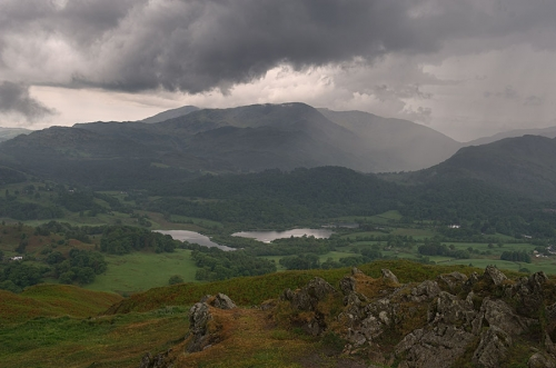 Looking North from Loughrigg Terrace, over Grassmere and Rydal Water
