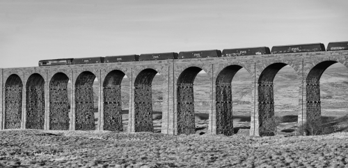 Ribblehead Viaduct - east side - freight train