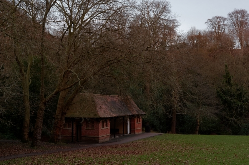 The recreation ground and its shelter, Jesmond Dene, on a late afternoon in January.